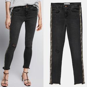 Zara Distressed Raw Hem Jeans with Snakeskin Strip